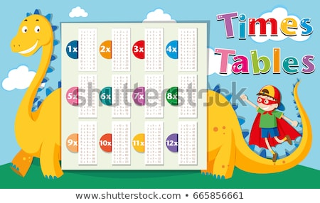 Times tables template with dragon in background Stock photo © bluering