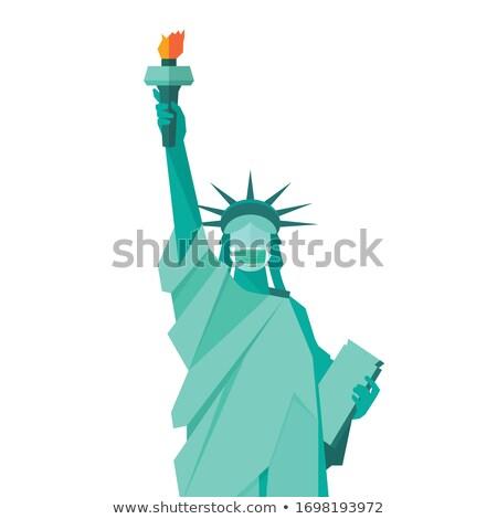статуя свободы маске ориентир Соединенные Штаты лице Сток-фото © popaukropa