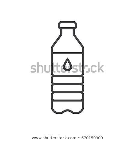 plástico · agua · botellas · iconos · simple · ilustración - foto stock © biv