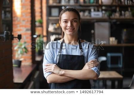 zakenvrouw · permanente · armen · gevouwen · portret - stockfoto © julenochek