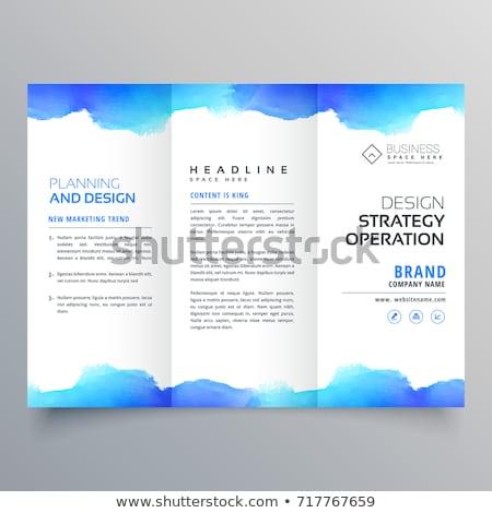 creative blue watercolor trifold brochure design template Stock photo © SArts