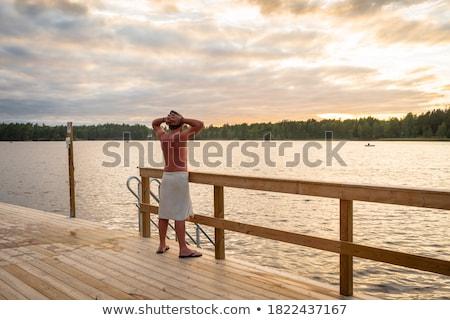 Attrattivo giovane sauna felice di bell'aspetto corpo muscoloso Foto d'archivio © dotshock