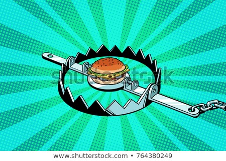 Iron trap with the Burger. concept of hunger and diet Stock photo © studiostoks
