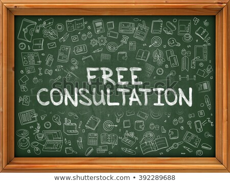 Foto stock: Green Chalkboard With Hand Drawn Free Consultation