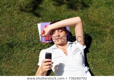 Işkadını çim telefon bahçe Stok fotoğraf © IS2