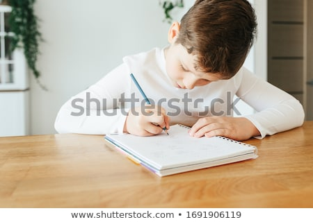 Boy 11, studying at home Stock photo © IS2