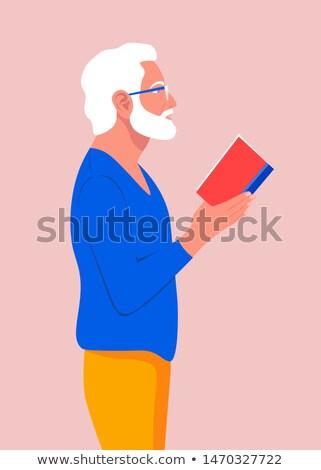 óculos · velho · livro · retro · leitura · biblioteca - foto stock © is2