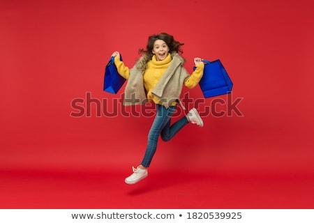 erfolgreich · Warenkorb · glücklich · weiblichen · Taschen · schauen - stock foto © is2