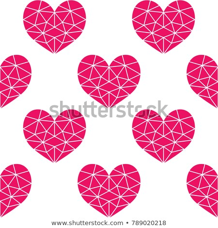Geometric pink cubic heart vector seamless pattern, Valentine's Day hearts on white background Stock photo © RedKoala
