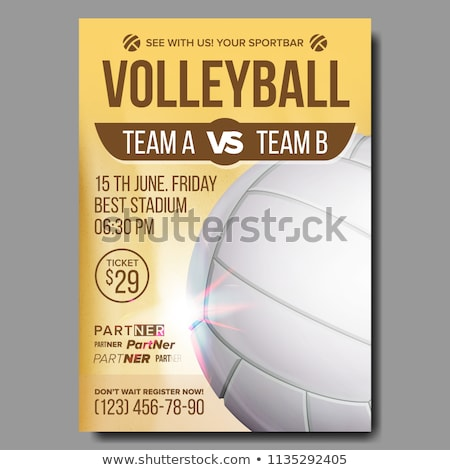 Volleyball Poster Vector. Sport Event Announcement. Banner Advertising. Event Promo. Template Design Stock photo © pikepicture
