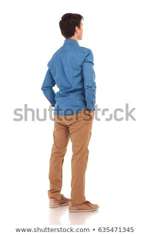 blanche · tshirt · jeans · enfance · mode - photo stock © feedough
