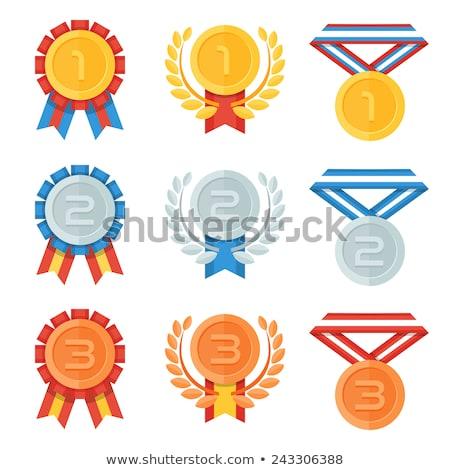 Silber Medaille Trophäe Plakat Illustration Hintergrund Stock foto © bluering