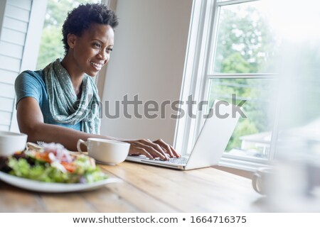 Woman using laptop with plate of food Stock photo © IS2