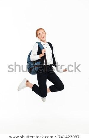 Tam uzunlukta görüntü kaygısız öğrenci kadın sırt çantası Stok fotoğraf © deandrobot