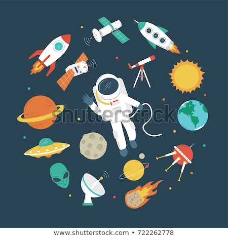 Set space: astronaut, planet Earth, rocket. Vector illustration Stock photo © popaukropa