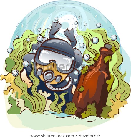 Homme plongeur antique bouteille illustration Photo stock © lenm