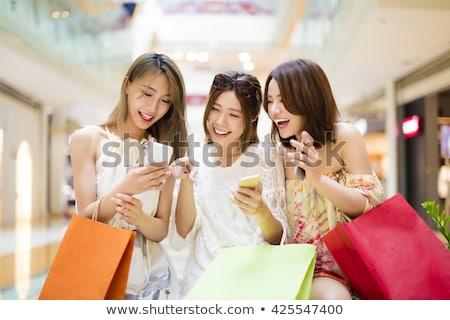 Asian vrouw groep winkelen glimlach Stockfoto © FrameAngel
