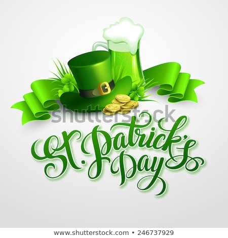 Saint Patricks Day Background Design with Green Clover Leaf. Irish Beer Festival Celebration Holiday Stock photo © articular