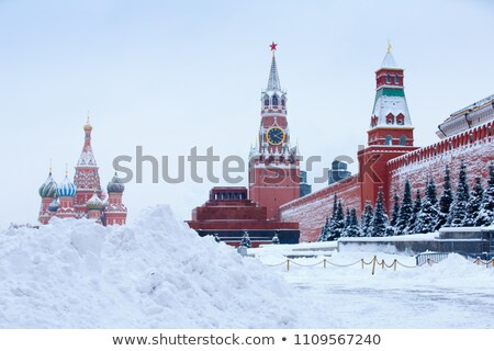 saint basils cathedral domes after great winter snowfall moscow kremlin russia stock photo © burchenko