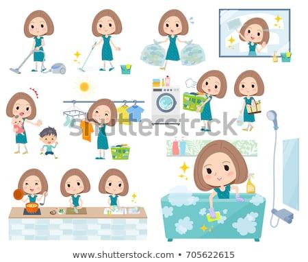 Bob hair green dress women_Housekeeping Stock photo © toyotoyo