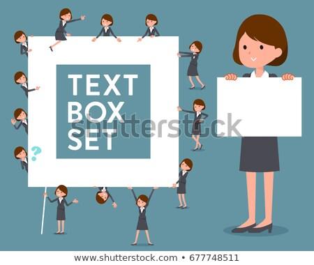 flat type gray suit business womentext box stock photo © toyotoyo