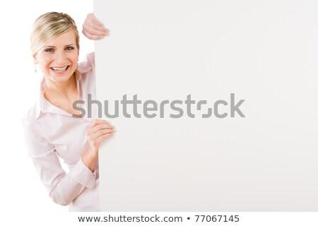 heureux · femme · d'affaires · derrière · vide · bannière · paysage - photo stock © CandyboxPhoto