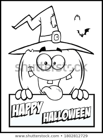 Stock photo: Halloween holiday cartoon funny characters coloring book