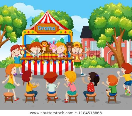 детей смотрят марионеточного шоу за пределами иллюстрация Сток-фото © bluering
