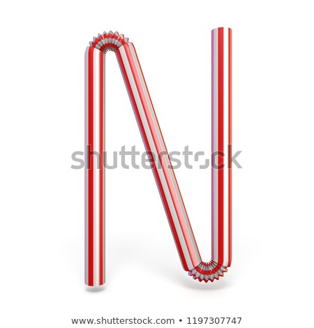 Drinking straw font Letter N 3D Stock photo © djmilic