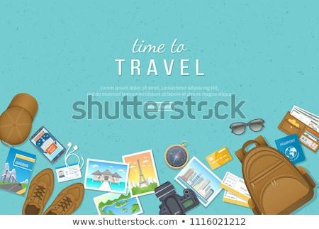 toeristische · vervoer · ingesteld · geïsoleerd · vrouw · tour - stockfoto © robuart