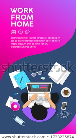 office work banners set men women working tables stock photo © robuart