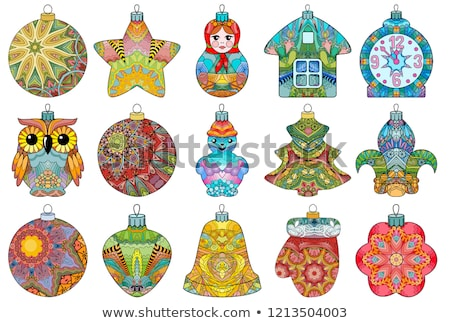 Zentangle stylized Christmas set of decorations. Hand Drawn lace vector illustration Stock photo © Natalia_1947