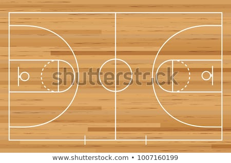 Foto stock: Basketball Ball On A Wooden Floor