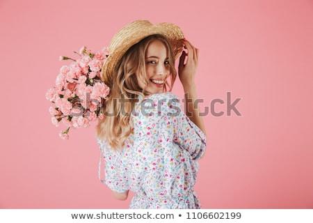 Portré nevet fiatal lány ruha szalmakalap szürke Stock fotó © deandrobot
