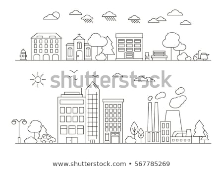 Town buildings - set of thin line design style vector illustrations Stock photo © Decorwithme