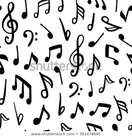 Seamless background with black music notes Stock photo © colematt