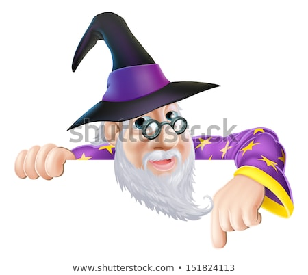 Wizard Cartoon Character Ponting Down over Sign Stock photo © Krisdog