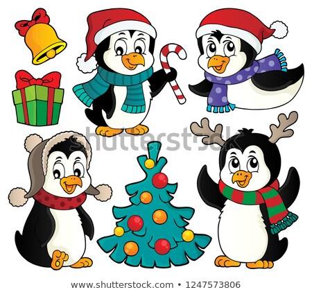 Christmas ingesteld gelukkig kunst winter vogels Stockfoto © clairev
