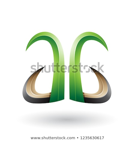 Green and Black 3d Horn Like Letter A Vector Illustration Stock photo © cidepix