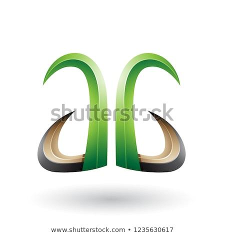 緑 黒 3D ホーン のような 手紙 ストックフォト © cidepix