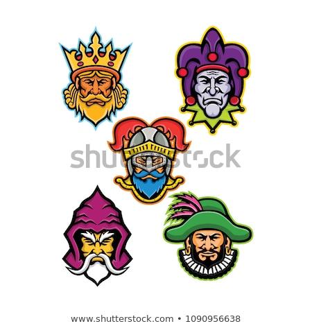 Médiévale tribunal personnage mascotte ensemble icône Photo stock © patrimonio