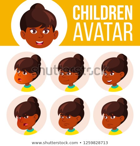 Stockfoto: Indian · meisje · avatar · ingesteld · kid · vector