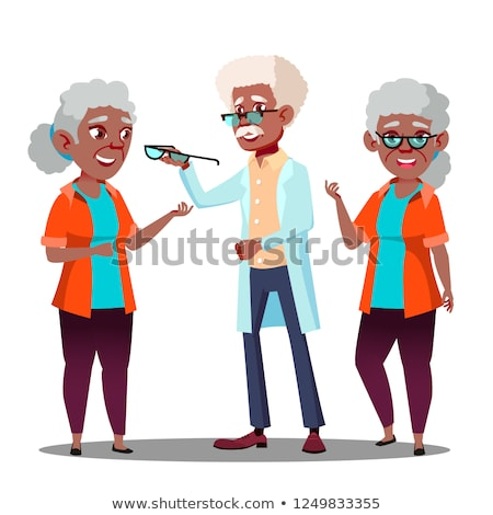 Black Afro American Oculist Doctor Giving Glasses To Old Woman Patient With Vision Problem Vector. I Stock photo © pikepicture