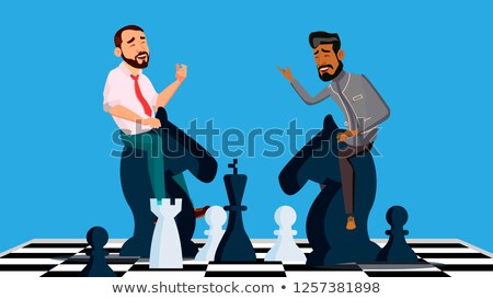 Business Competition Vector. Two Businessmen Riding Chess Horses Black And White To Meet Each Other. Stock photo © pikepicture