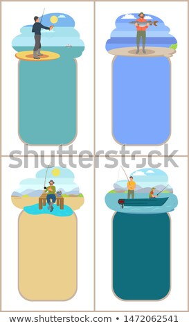 Fishing Freetime Activity Fisher with Rod and Catch Stock photo © robuart