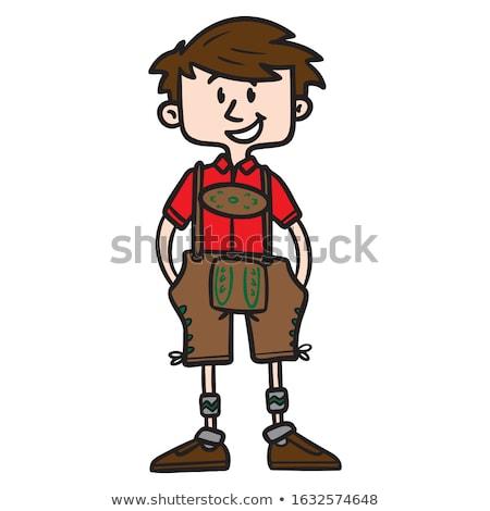 Lächelnd Karikatur Lederhosen Junge Illustration Kinder Stock foto © cthoman