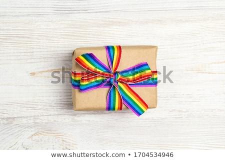 Aanwezig homo bewustzijn lint tabel Stockfoto © dolgachov