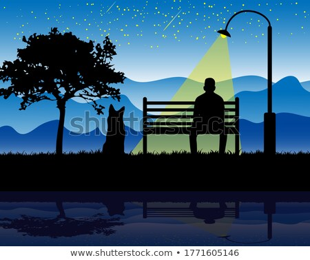 Silhouette man meditating in park at night Stock photo © colematt