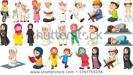 a set of muslim girl and activity stock photo © colematt