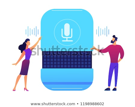 Users giving voice commands to smart speaker vector illustration. Stock photo © RAStudio